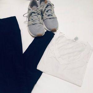 White semi cropped workout top